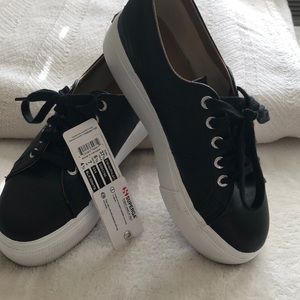 Superga Woman's Black Leather Tennis Shoes